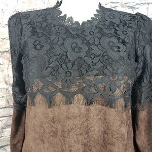 Hibiscus Pizza Tops - Faux Chocolate Leather and Black Lace Tunic, Large